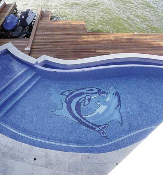 Mosaïque piscine réalisation Sols Concept - SET 16 de Mosavit